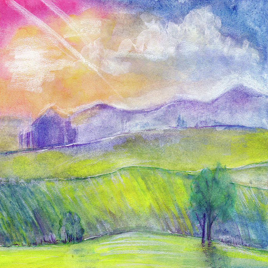 Abstract Watercolor Landscape With Sunset Hills And Fields Painting By Elena Sysoeva