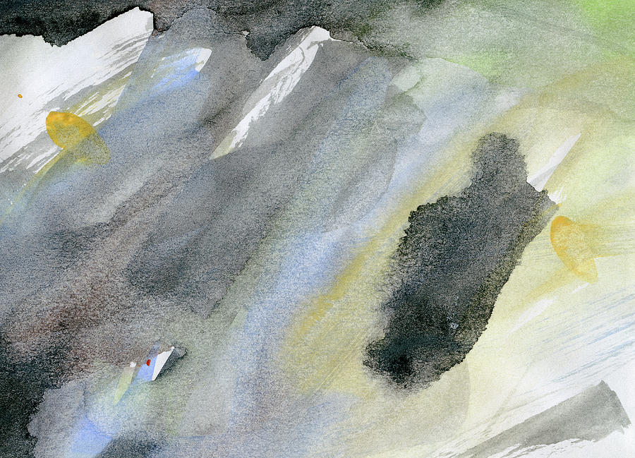 Abstract Watercolor Painted Digital Art by Petekarici