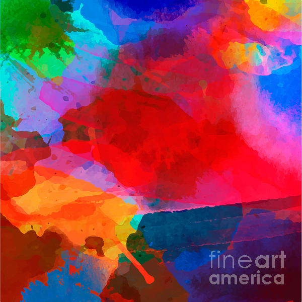 Mixing Digital Art - Abstract Watercolor Palette Of  Blue by Vikpit