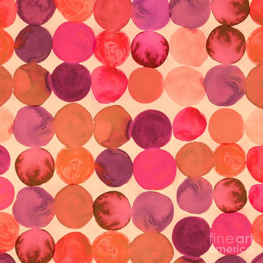 Small Digital Art - Abstract Watercolored Geometric Circles by Markovka