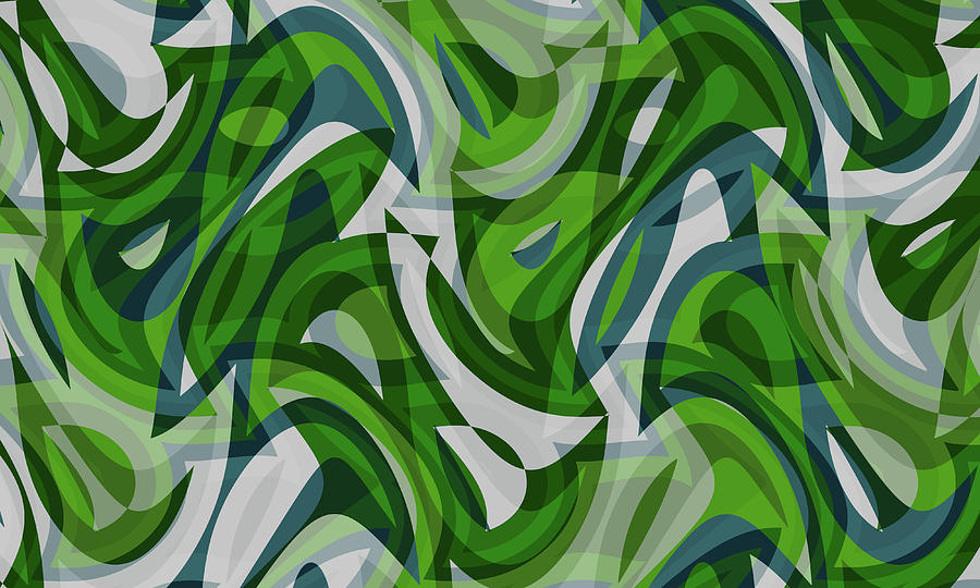 Waves Digital Art - Abstract Waves Painting 0010087 by P Shape