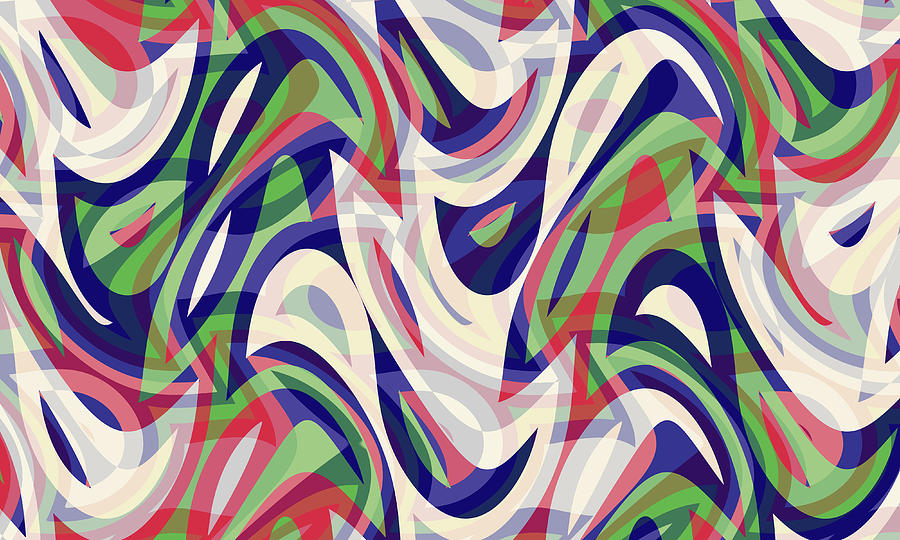 Waves Digital Art - Abstract Waves Painting 0010118 by P Shape