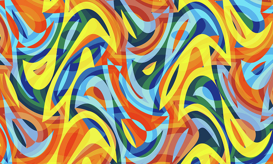 Waves Digital Art - Abstract Waves Painting 007176 by P Shape