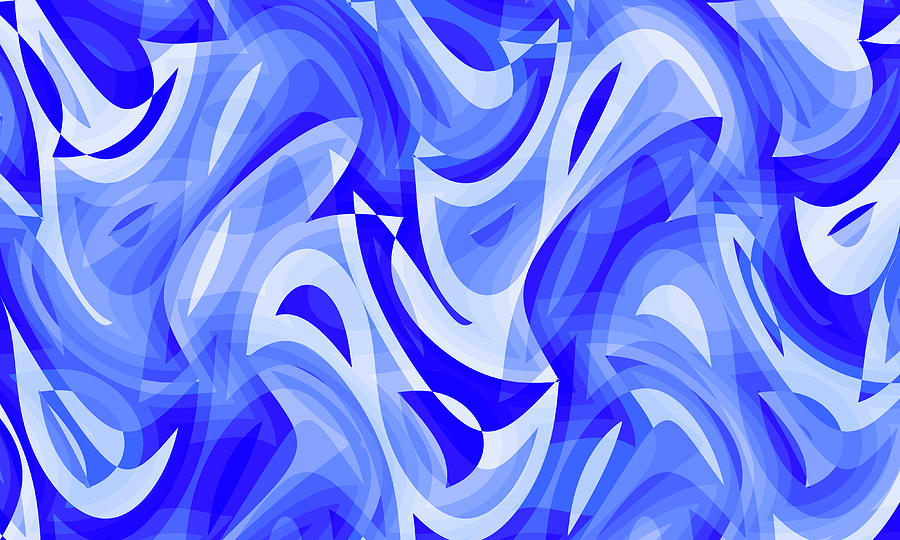 Waves Digital Art - Abstract Waves Painting 007183 by P Shape