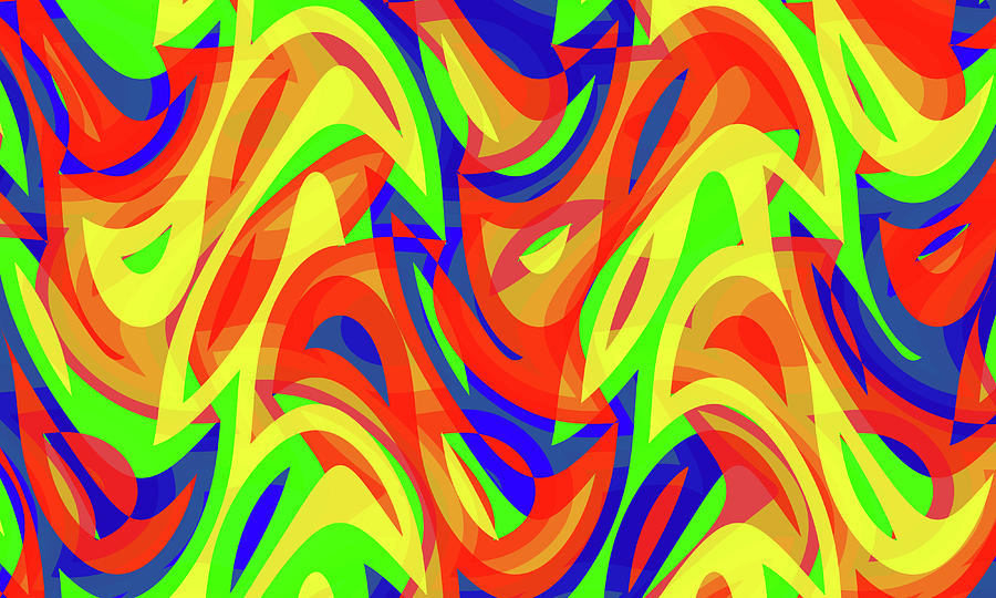 Waves Digital Art - Abstract Waves Painting 007192 by P Shape
