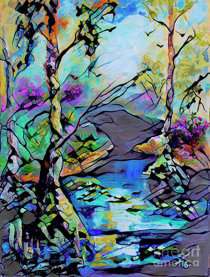 Abstract Wetland Trees and River Mixed Media by Ginette Callaway