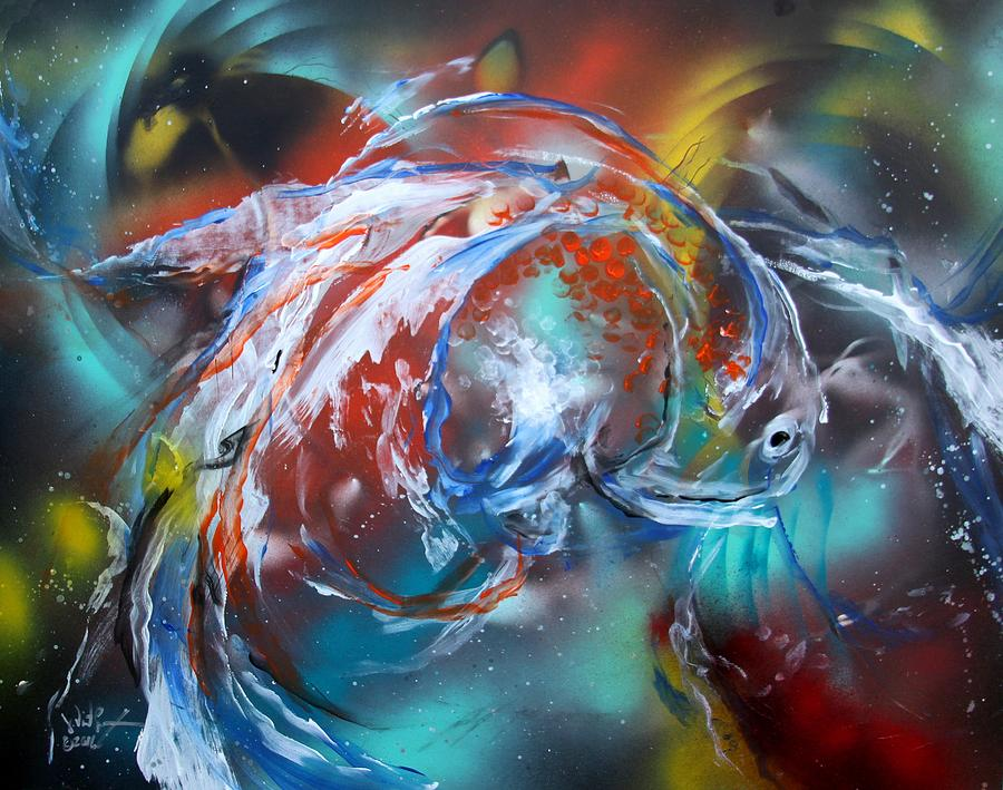 Abstract White Tri Fantail Goldfish by J Vincent Scarpace