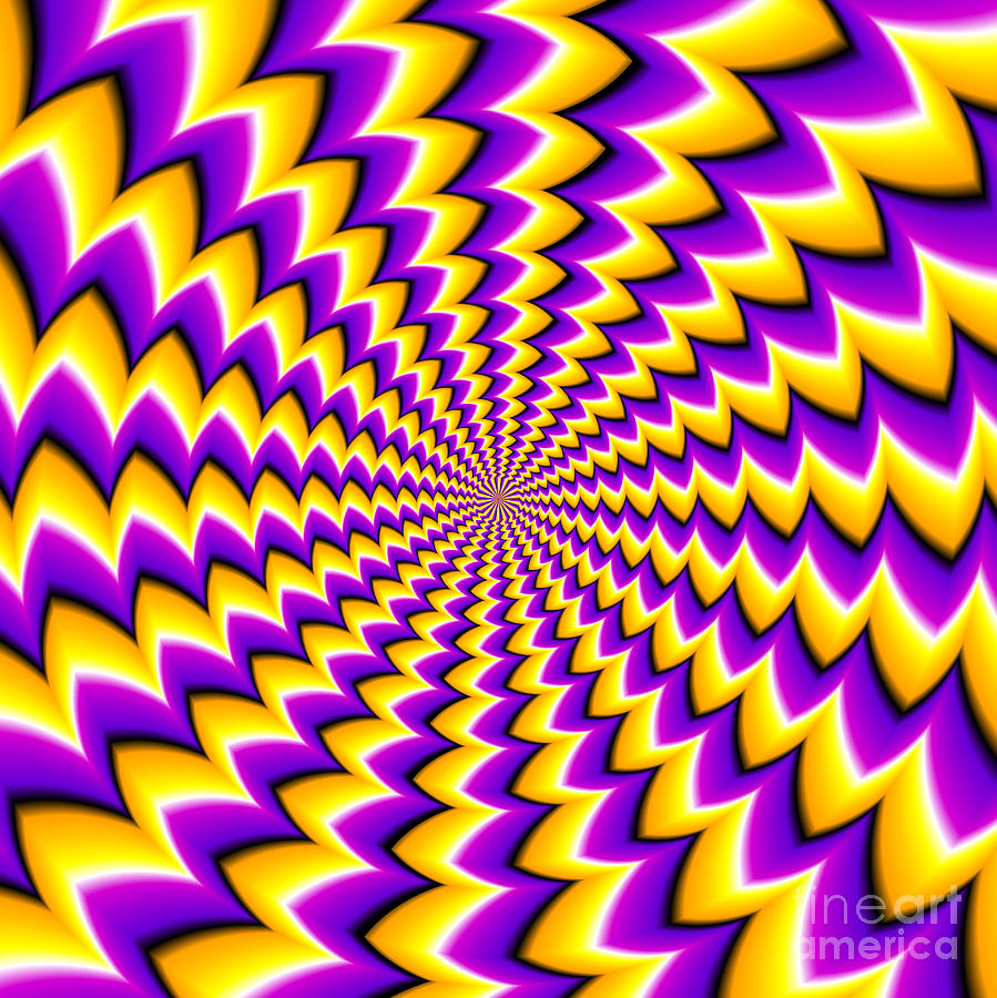 Magic Digital Art - Abstract Yellow Background Spin Illusion by Andrey Korshenkov