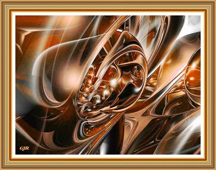 Abstracticalia - Bronze Fractal Fantasy L A S With Printed Frame Digital Art
