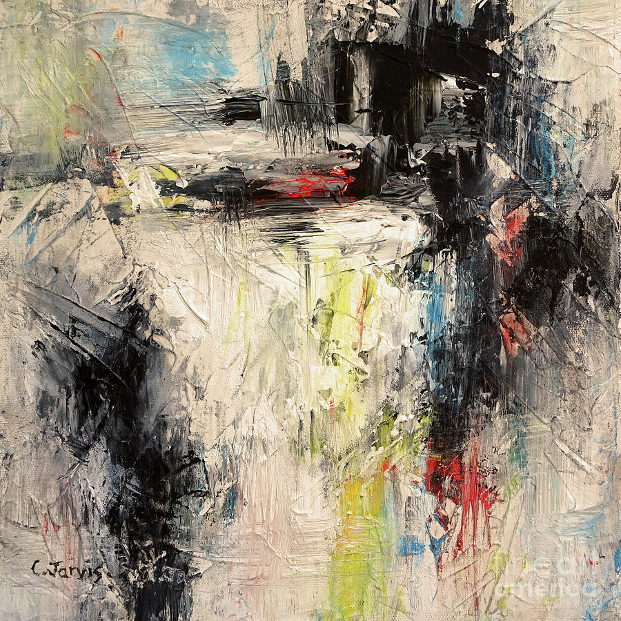 Warm White and Black Abstract by Carolyn Jarvis