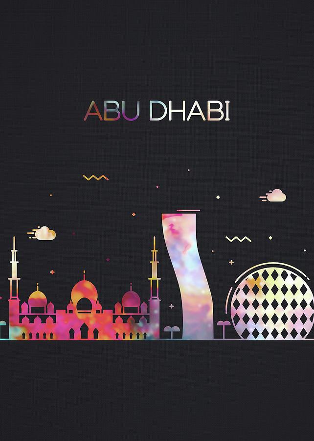 Abu Dhabi Mixed Media - Abu Dhabi City Skyline Whimsical Fun Dark Tall Series by Design Turnpike
