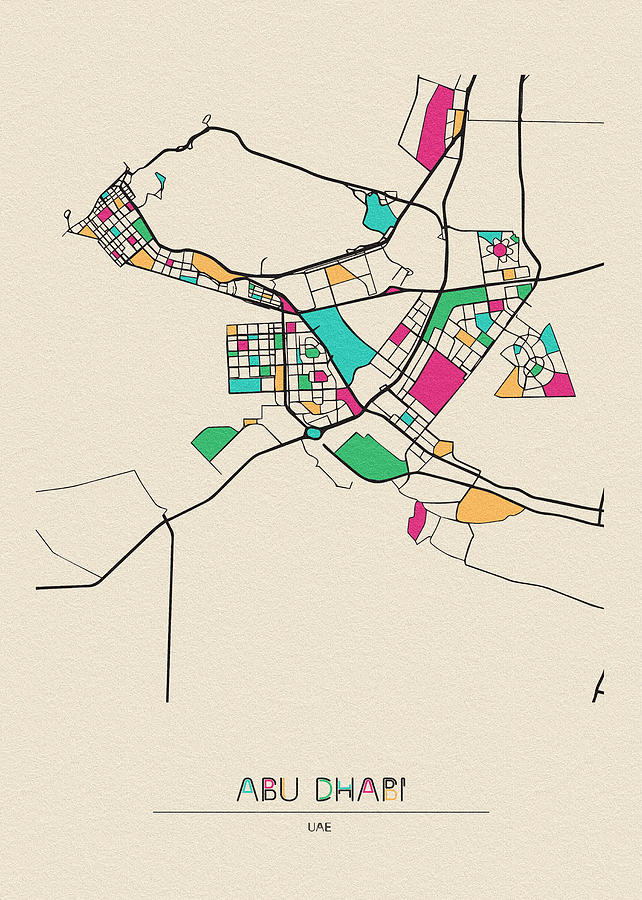 Abu Dhabi, Uae City Map