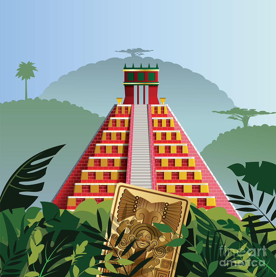 Civilization Digital Art - Acient Mayan Pyramid by Nikola Knezevic