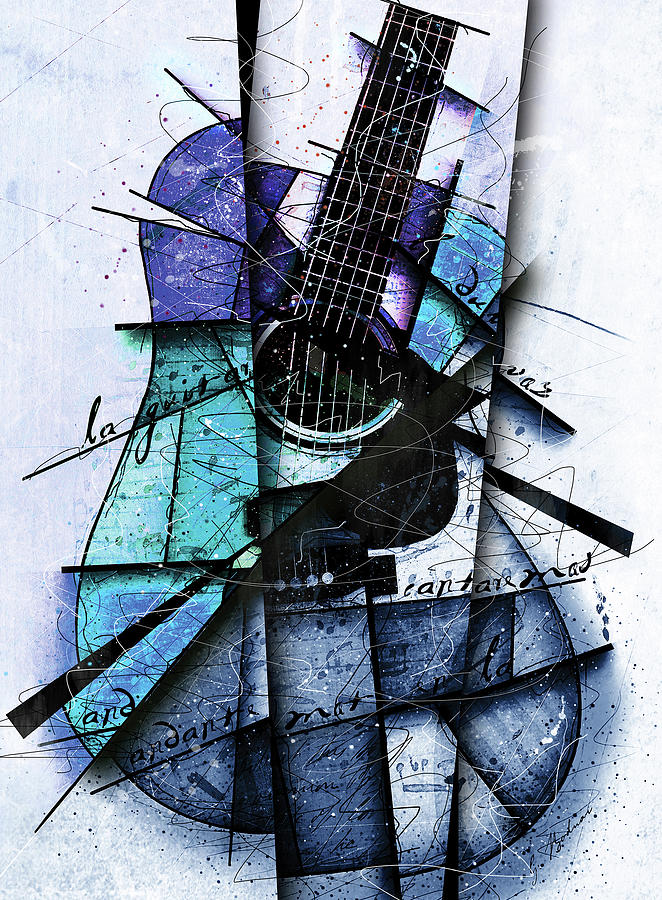 Guitar Digital Art - Acoustic Alchemy In Blue by Gary Bodnar