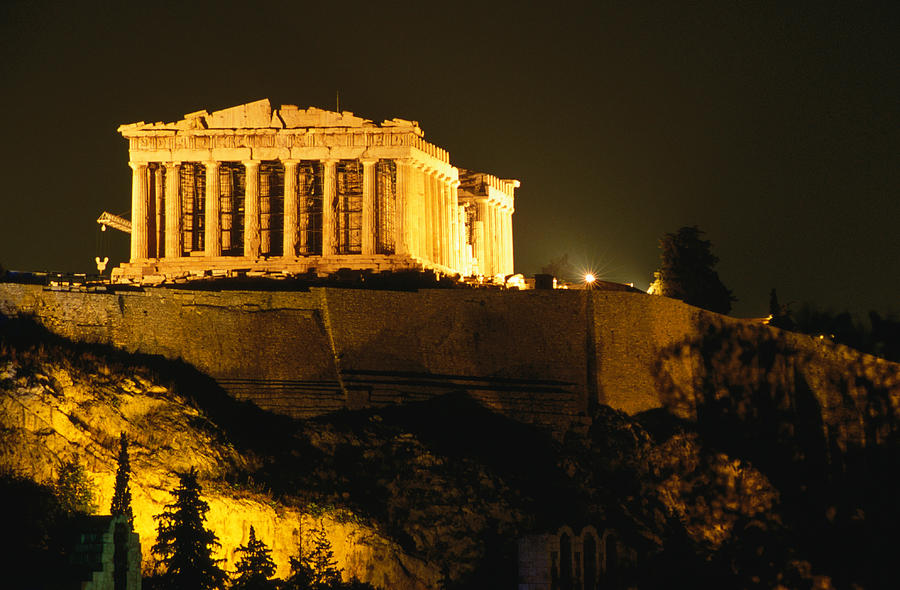 Acropolis At Night Seen From Filopappou Photograph by Lonely Planet