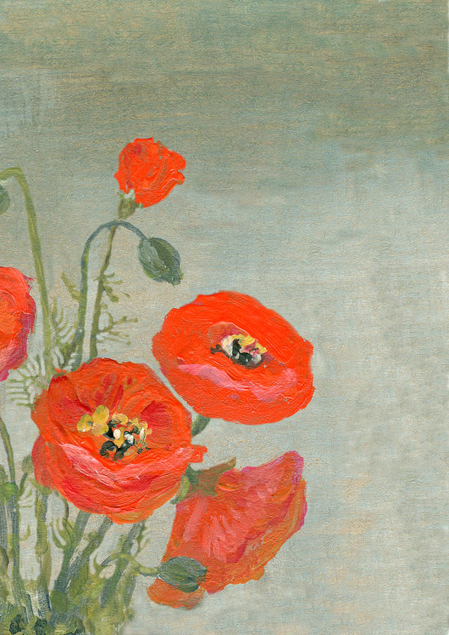 Acrylic Painted Red Poppies Border On Digital Art by Mitza