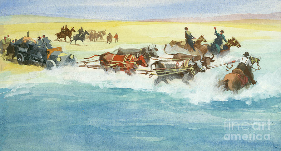 Ox Painting - Action From A Ten Thousand Mile Motor Race by Ferdinando Tacconi