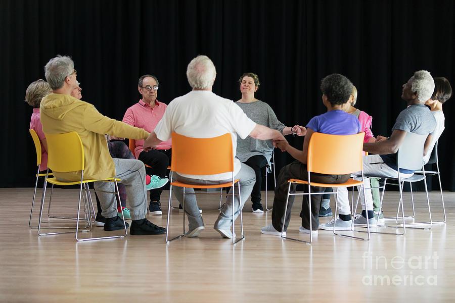 Active Seniors Photograph - Active Seniors Meditating by Caia Image/science Photo Library