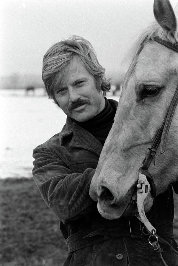 Actor Robert Redford With Horse On His Photograph by John Dominis