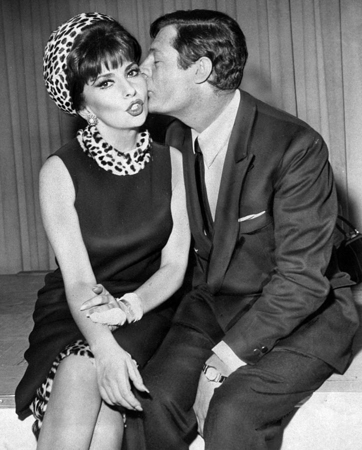 Actress Gina Lollobrigida Receives Kiss Photograph by New York Daily News Archive