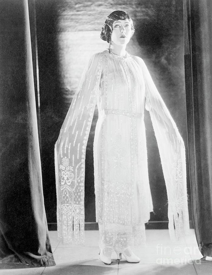 Actress Gloria Swanson Posing In Long Photograph by Bettmann