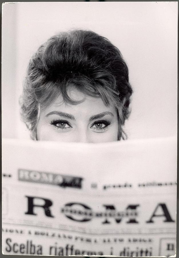 Actress Sophia Loren Impishly Peering Photograph by Alfred Eisenstaedt