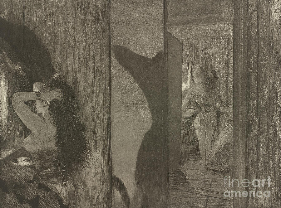 Etching Drawing - Actresses In Their Dressing Rooms by Edgar Degas