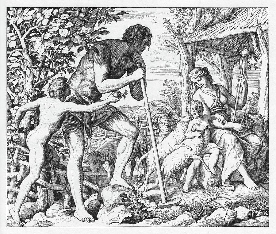 Bible Painting - Adam And Eve After Their Exile From Eden, Genesis by Julius Schnoor von Carolsfeld