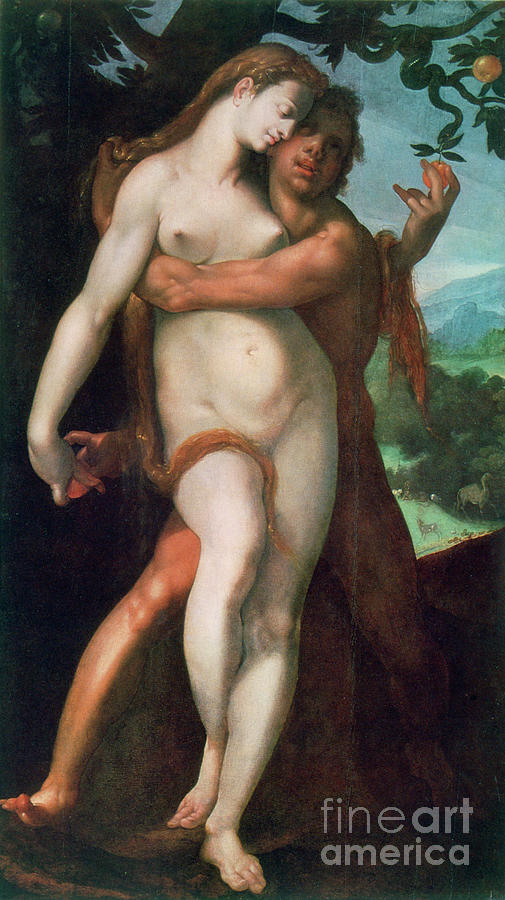 Adam And Eve, C1566-1611. Artist Drawing by Print Collector
