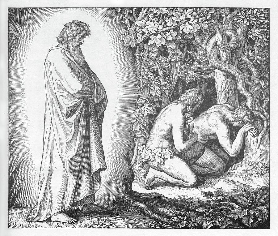 Bible Painting - Adam And Eve Hide Their Nakedness, Genesis by Julius Schnoor von Carolsfeld
