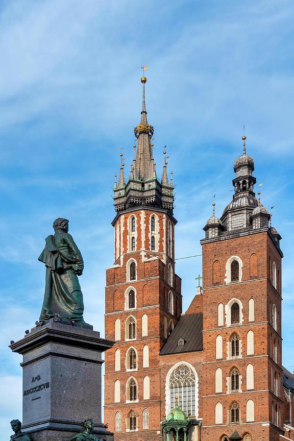 Adam Mickiewicz Monument and Saint Mary Basilica by Fabrizio Troiani