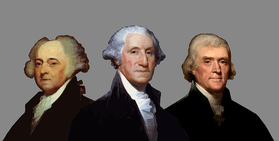 American History Painting - Adams, Washington, And Jefferson Portraits by War Is Hell Store