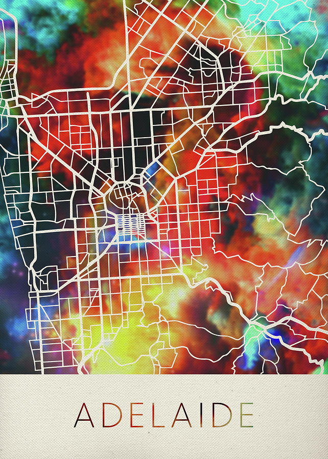 Street Map Australia.Adelaide Australia Watercolor City Street Map By Design Turnpike
