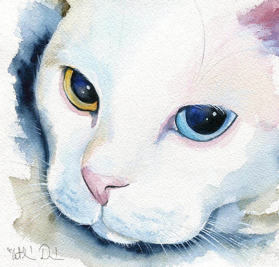 Adele - White Cat Portrait by Dora Hathazi Mendes