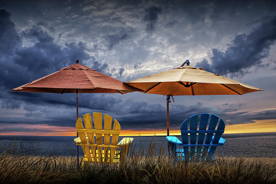 Adirondack Chairs on the Beach at Sunset by Randall Nyhof