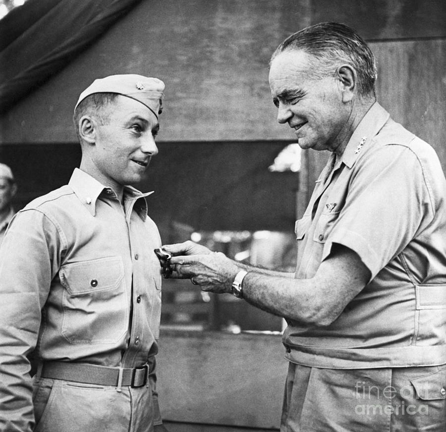 Admiral William F. Halsey Presenting Photograph by Bettmann