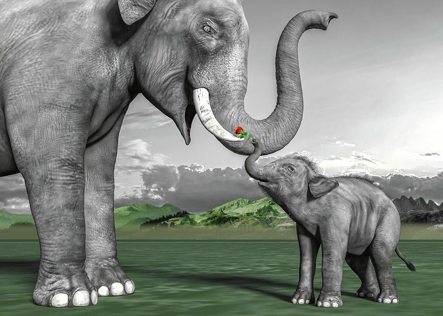 Elephant Digital Art - Adorable Elephants by Betsy Knapp