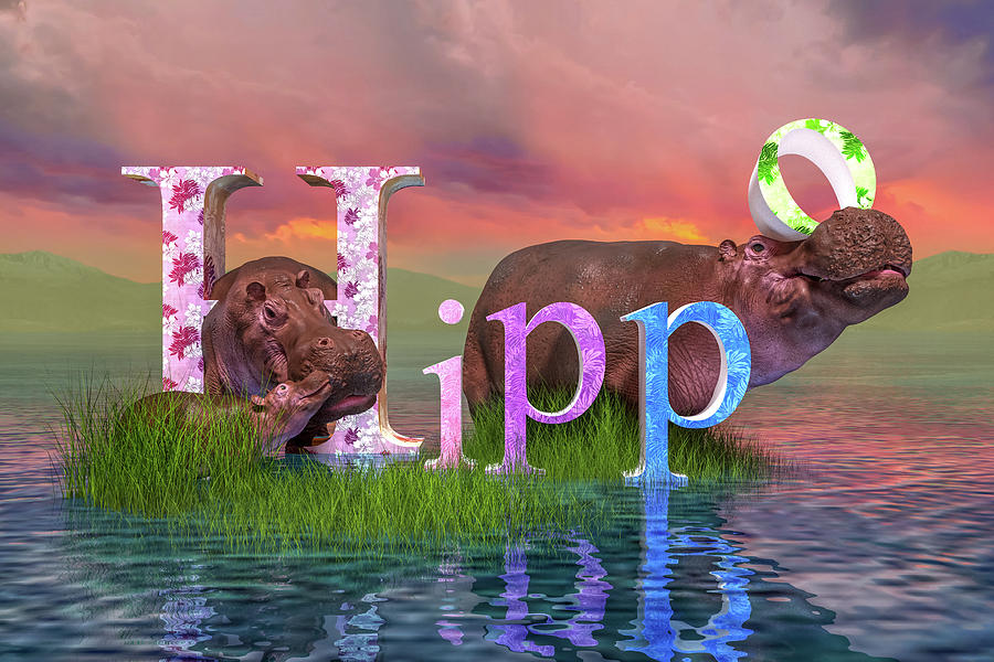 Hippo Digital Art - Adorable H For Hippo by Betsy Knapp