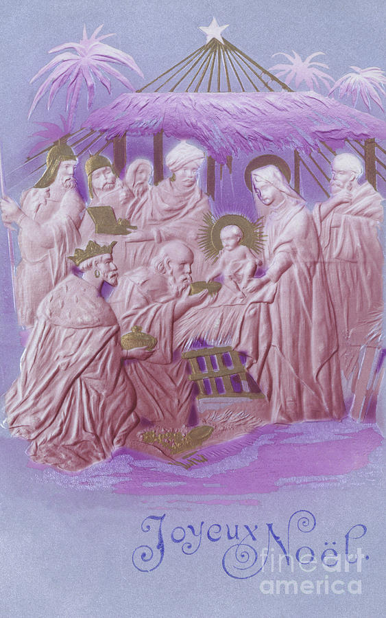 Purple Painting - Adoration Of The Magi, French Christmas Card  by French School