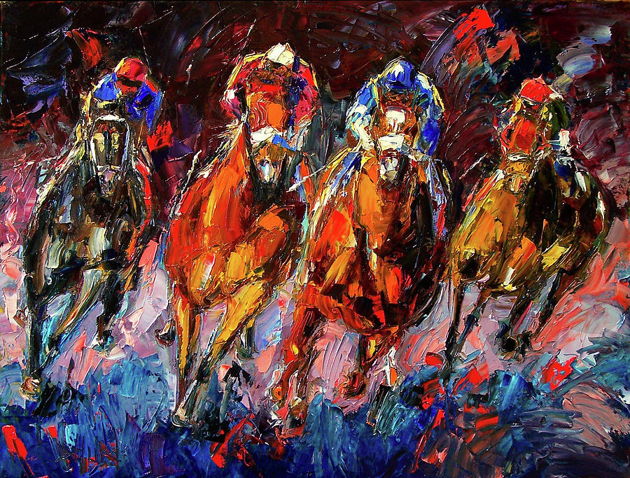 Horse Race Painting - Adrenalin by Debra Hurd
