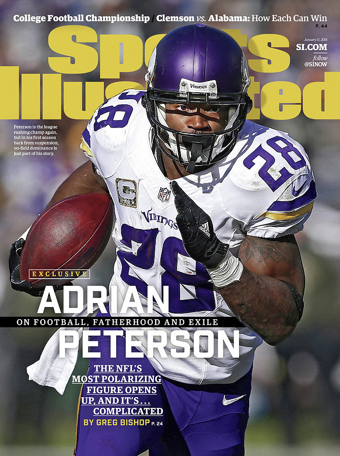 Adrian Peterson Exclusive On Football. Fatherhood And Exile Sports Illustrated Cover Photograph by Sports Illustrated