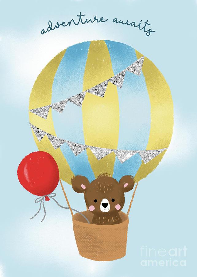 Adventure Awaits Teddy Bear On A Blue Hot Air Balloon  by Namibear