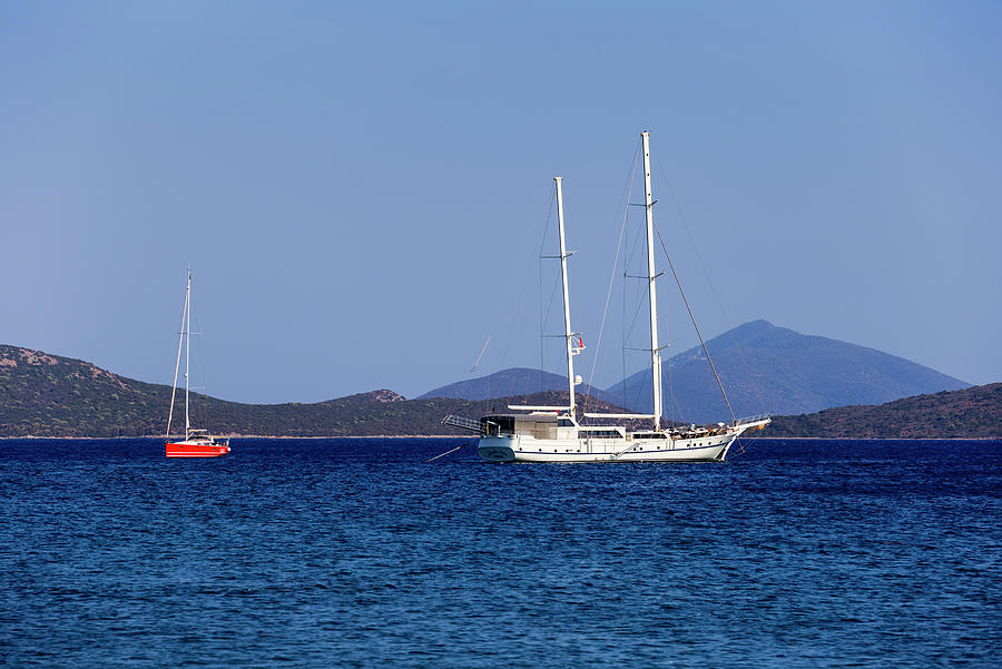 Aegean Sea Photograph - Aegean Sea Ships by David Pyatt