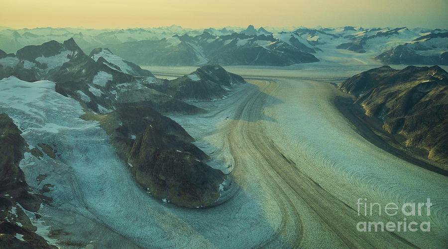 Aerial Baird Glacier Ice Roads Photograph