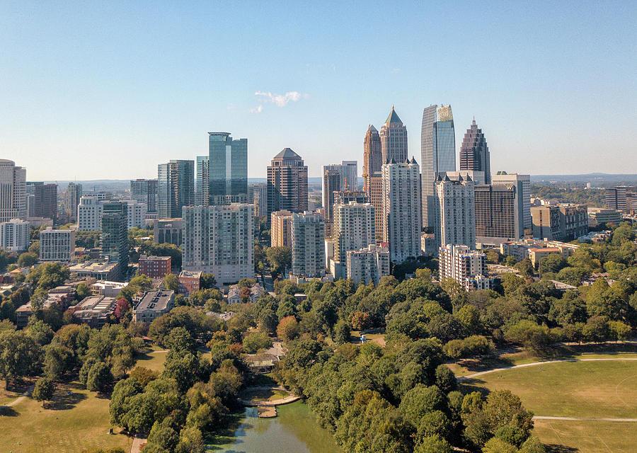 Aerial Image Of Atlanta Skyline From Piedmont Park