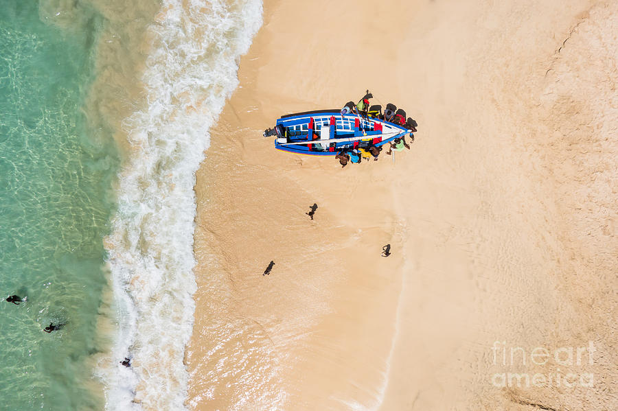 Country Photograph - Aerial Of A Traditional Fisher Boat In by Samuel Borges Photography