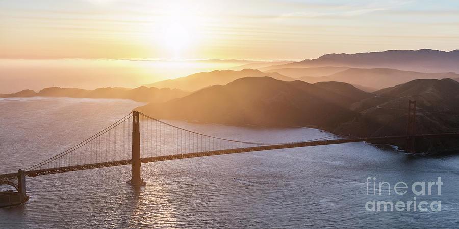 Aerial of Golden gate bridge, San Francisco by Matteo Colombo