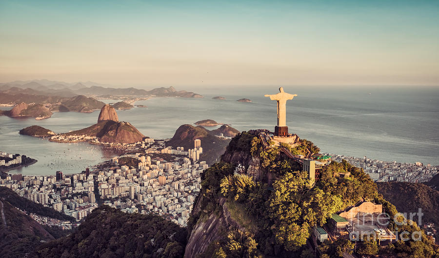 De Photograph - Aerial Panorama Of Botafogo Bay And by Marchello74