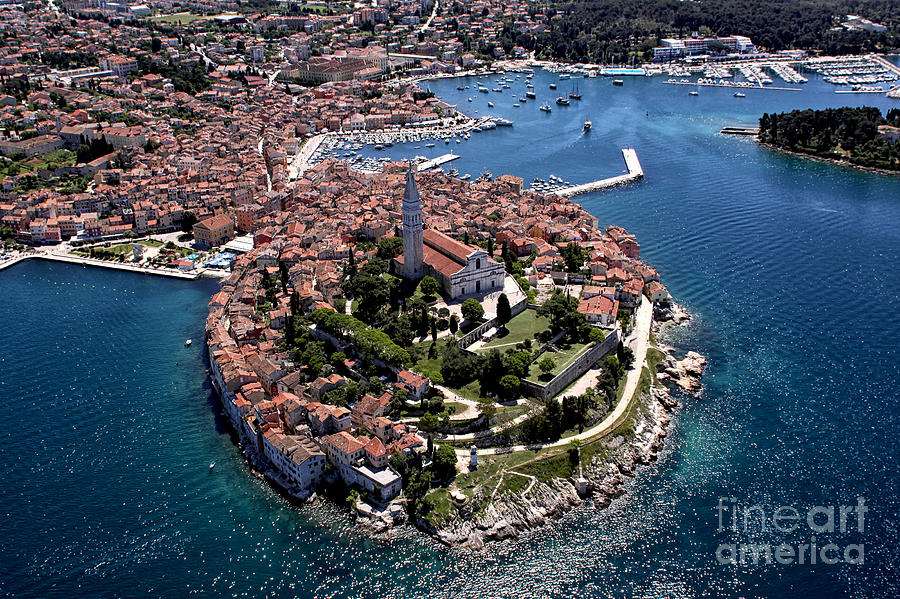 Istra Photograph - Aerial Shoot Of Old Town Rovinj, Istra by Igor Karasi