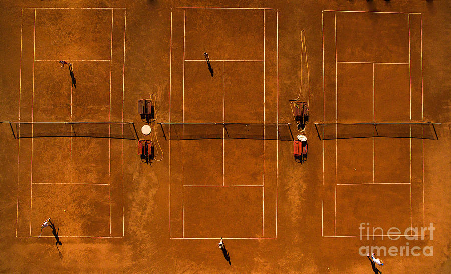 Game Photograph - Aerial Shot Of A Tennis Courts With by L I G H T P O E T